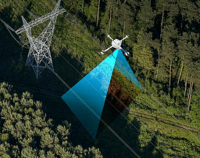 The GE industrial drone surveying and mapping the terrain/ Image: Microdrones, all rights reserved